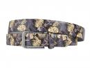 Goldence, Blue, Gold, Print, Motif, Belt, Men's belt, Lureaux, Designer, limited edition