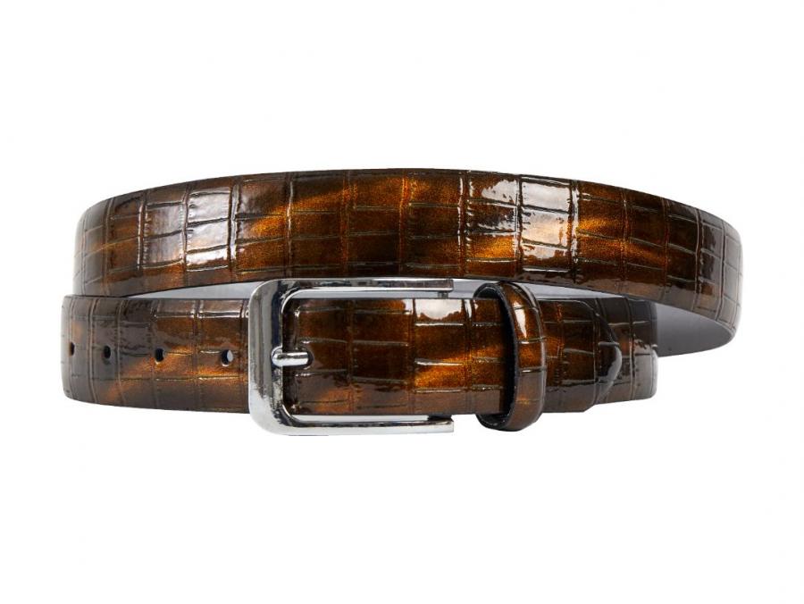 Bronze, Brown, Crocodile, Print, Motif, Belt, Men's belt, Lureaux, Designer, limited edition